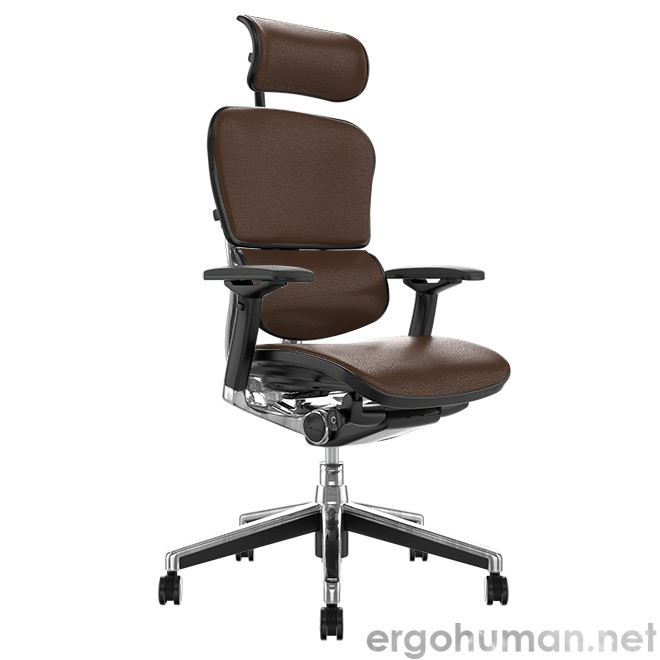 Ergohuman Brown Leather Office Chair with Leg Rest